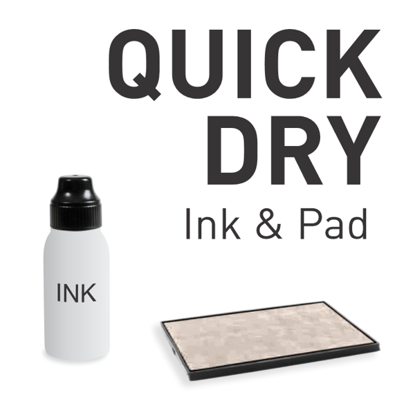 Quick Dry Ink and Pad for hard shiny surfaces