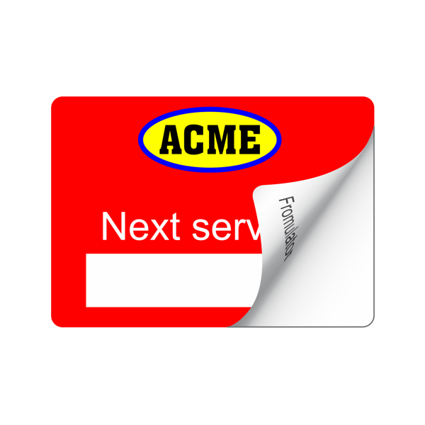 Service Sticker Synthetic - Full Colour Front - 1 Colour Back